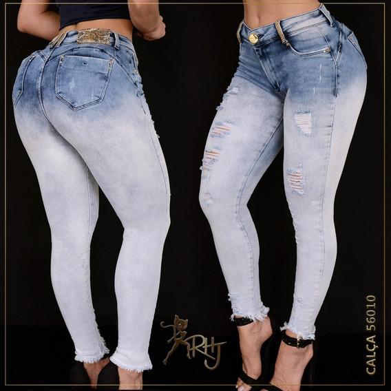 Calça Jeans Feminina Rhero Estilo Pit Bull C/ Bojo Removível