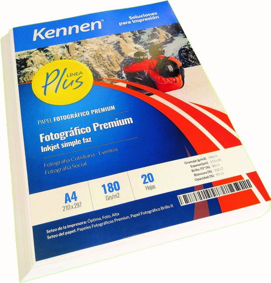 Papel Fotográfico Premium Brillo 180gr A4 200h Kennen