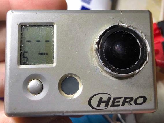 Gopro Hero 1 Sem Bateria Lentearranhada Funciona Retira Peça
