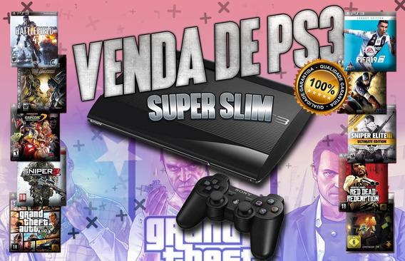 Sony Ps3 Playstation 3 Super Slim 250gb + 30 Jogos Brinde