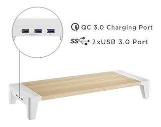 Soporte Elevador De Monitor Blanco Para iMac Pc Hub Usb 3.0