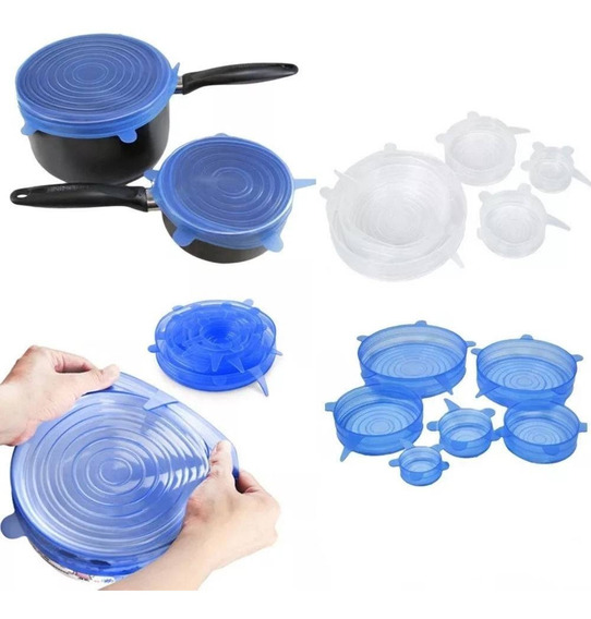 Jogo 6 Tampas De Silicone Reutilizável Elástica De Potes