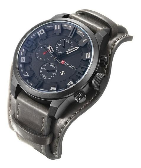 Relógio Analógico Masculino Curren Luxo Pulseira Em Couro