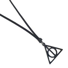 Colar Masculino Couro Pingente Triangulo Harry Potter