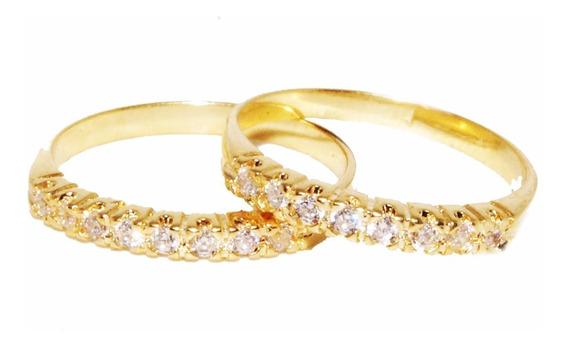 Par Anéis Aparador De Ouro 18k Maciço Zirconia Frete Gratis