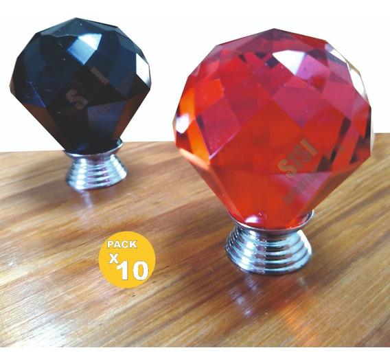 Tirador para muebles 10 unidades, cristal de 30 mm, aleaci/ón de cinc