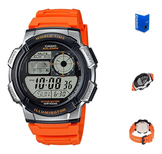 Reloj Casio Ae1000 4b Hombre Digital Correa Resina Naranja