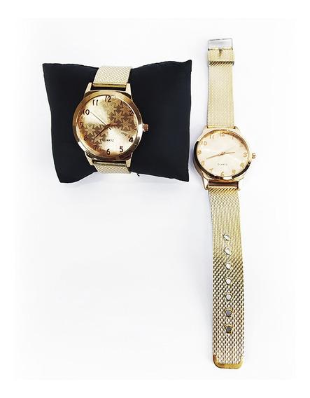 Relógio Feminino Efeito Metálico Rose Gold Snowflake Quartz