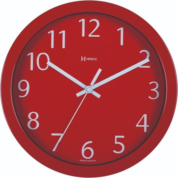 Relógio De Parede Alumínio 30cm Vermelho Herweg 6719-044