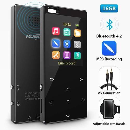 Reproductor Mp3 De 16 Gb Con Bluetooth 5.0, Grabación Dire