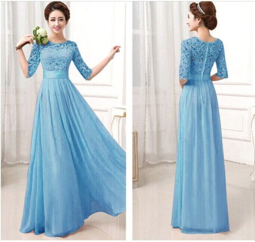 Vestido Azul Celeste Encaje Cóctel Fiesta Formal Moda 2019