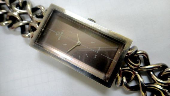 Relógio Omega Retangular Todo Em Prata Original De Fábrica