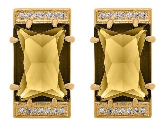 Brinco Banhado Ouro Cristal Retangular Fumê Zircônias Com Nf