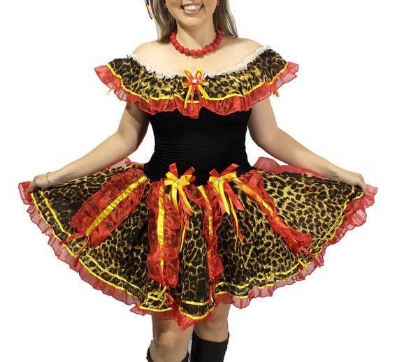 Vestido Caipira Festa Junina Estampa Oncinha Laços Onça