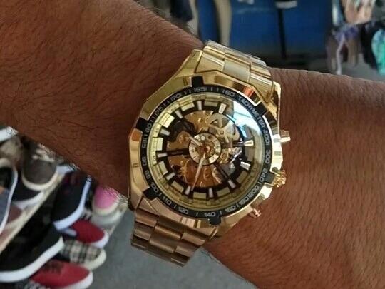 Relógio X Skeleton Automatico Aço Dourado Top Barato Preço