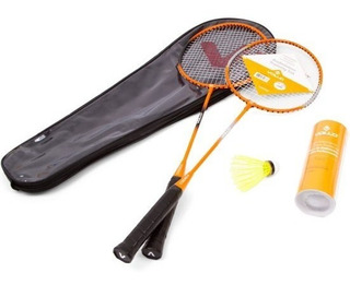Kit Badminton Vollo 2 Raquetes 3 Petecas De Nylon
