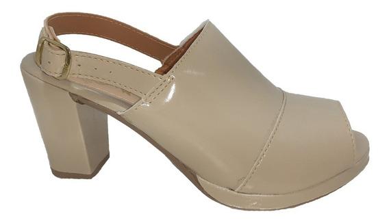 Sandalia Sapato Salto Quadrado Alto Verniz Feminina Adulta B