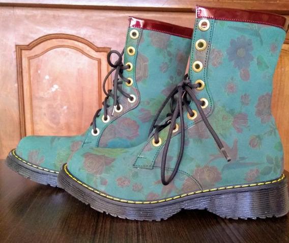 Zapato Bota Borcego Verde Lucerna Estampado Flores 38 39