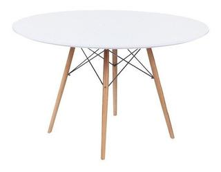 Mesa Comedor Madera Redonda Eames 110cm Moderna Nordico