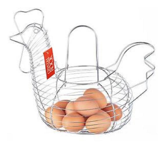 Porta Huevos Cromado Gallinita Huevera