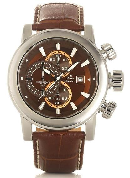 Relógio Jean Vernier Masculino Jv194 Cronógrafo Prateado