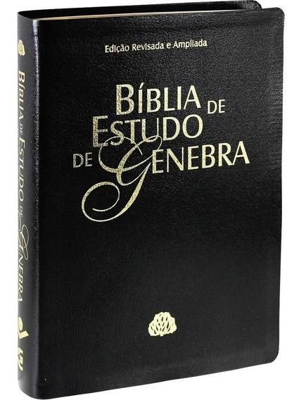 Bíblia De Estudo De Genebra - Preta Nobre - Luxo - Grande