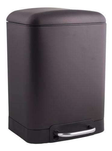 Imagen 1 de 3 de Cesto Acero Negro Satinado 6 Litros Rectangular Cierre Soft