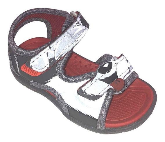 Sandália Infantil Masculina Klin Tic Tac Cinza Com Vemelha