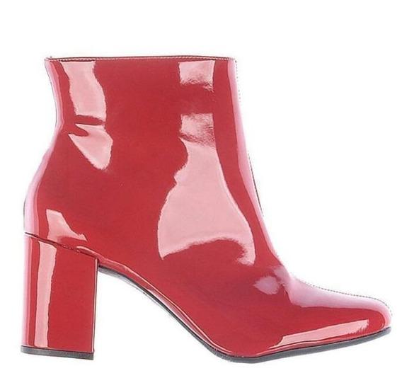 Bota Ankle Boots Salto Grosso Zatz Cano Curto Vermelha