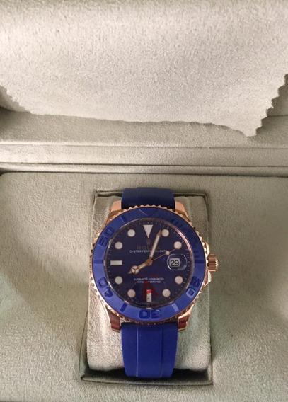 Relógio Er768 Automático Yacht-master Azul Puls. Silicone