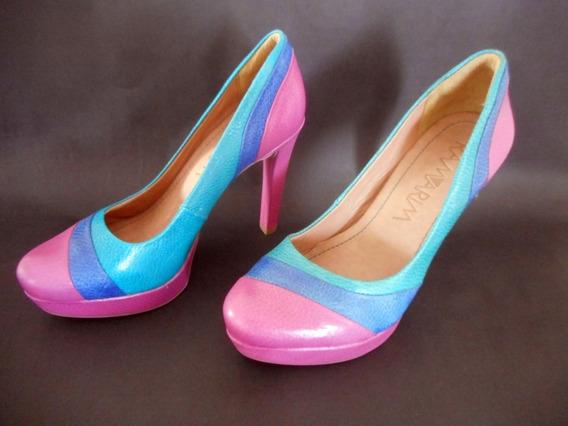 Ramarim - Lindo Sapato Salto Alto Colorido. Última Peça 35
