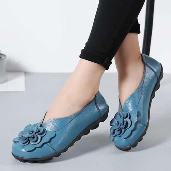 35 Luz Azul Flor Senhoras Sapatos