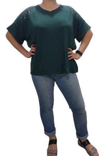 Remera Modal Con Brillo Mujer Talle Grande