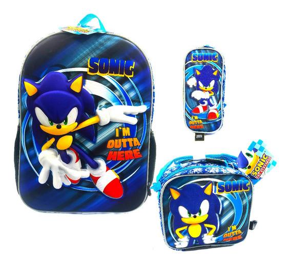 Kit Mochila 3d Sonic + Lonchera + Lapicera Ginga 2020 Primar