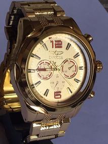 Relógio Luxo Dourado Importado Na Caixa