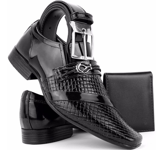 Sapato Masculino Social Envernizado Preto Kit Cinto + Carteira Dhl