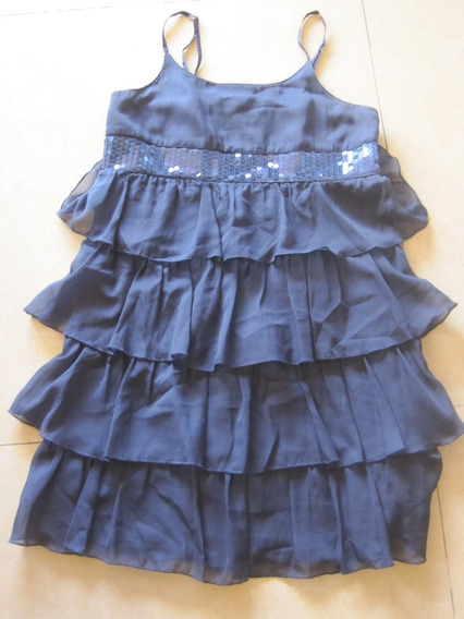 Vestido Azul Con Cinto De Lentejuela T: 10 / 12 Gasa Poco Us