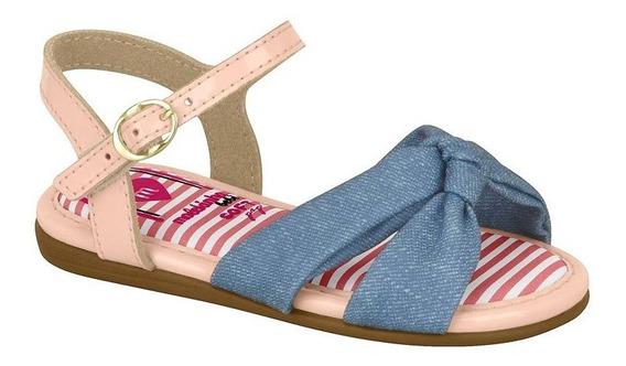 Sandália Infantil Menina Molekinha Laço Tecido Jeans 2112555