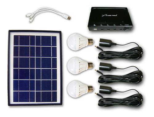 Imagen 1 de 5 de Kit Solar Iluminacion, 3 Focos Led, Bateria 6w, Panel