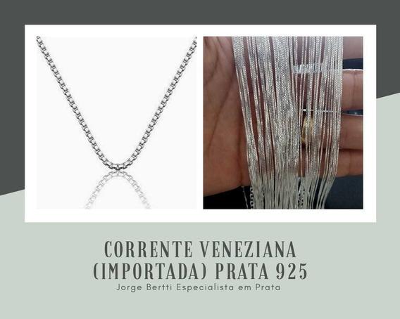 Corrente Veneziana 60cm Prata 925 - Importada V12
