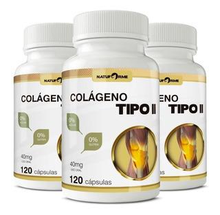 3 Potes Colágeno Tipo 2 Com 120 Cápsulas 40mg Natuforme