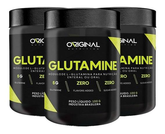 Combo 3x Glutamina 100% Pure 100g - Original Nutrition