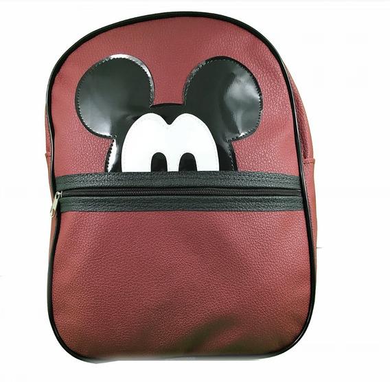 Mochila Escolar Feminina Mickey Mouse Vinho De Costas Linda