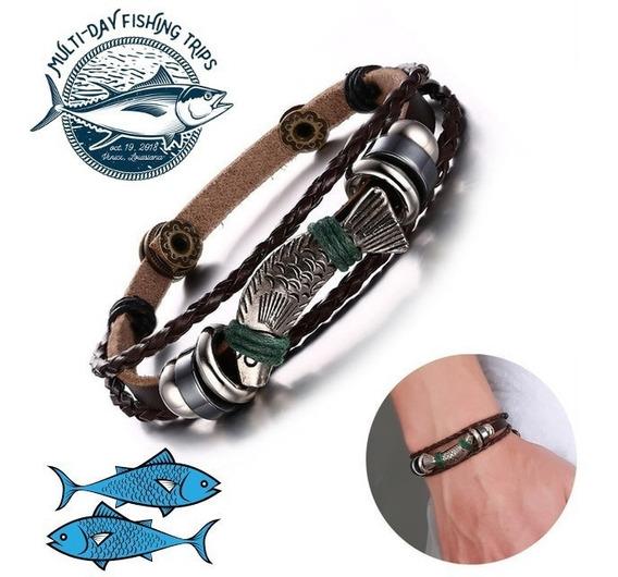 Pulseira Masculina Couro Legítimo Fish Hook Peixe Pesca
