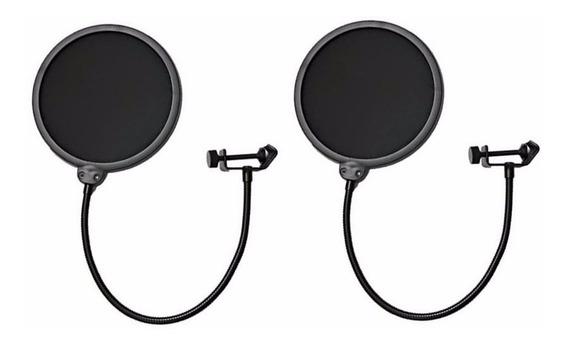 Kit 2 Pop Filter Tela Anti Sopro P/ Microfone Haste Flexível