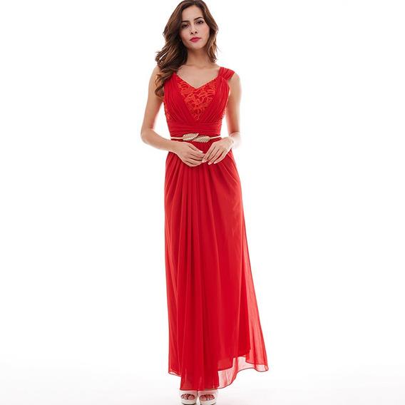 Vestido De Fiesta Rojo Sin Mangas De Noche Encaje Plisado