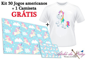 Kit 30 Jogos Americanos - Unicórnio (grátis Camiseta)