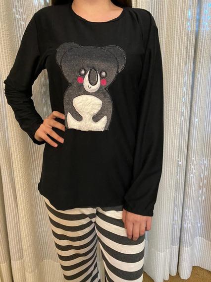 Pijama Feminino Longo Bordado Estampado Inverno Malha Oferta