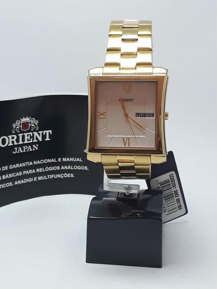 Relógio Orient Masculino Dourado/calendário, À Prova D`água