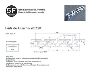 Kit Perfil 20x120x500mm+parafusos E Porcas